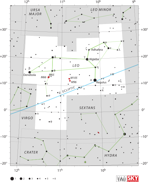 [Chart of the constellation Leo]